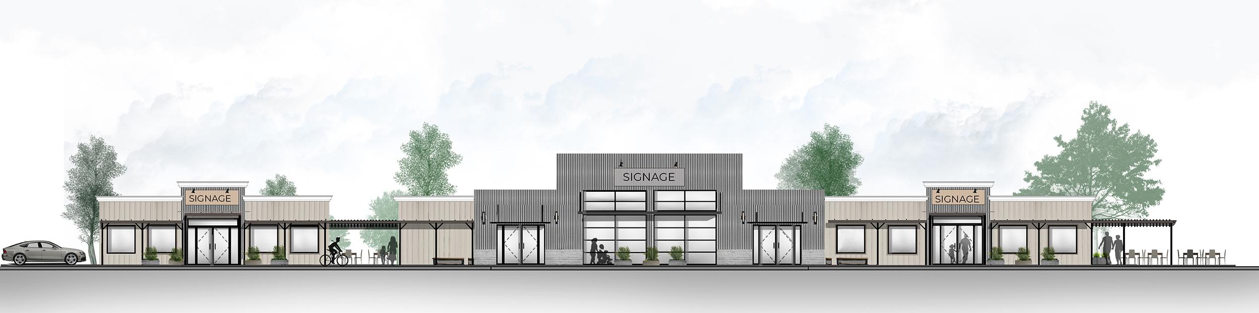 Exterior front elevation Gravenstein Hwy Retail